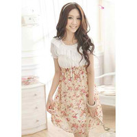 Pink Floral Printed Chiffon Mini Dress