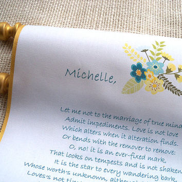 Wedding vows scroll, fabric scroll, proposal scroll, wedding ceremony, modern flowers, gold and mint