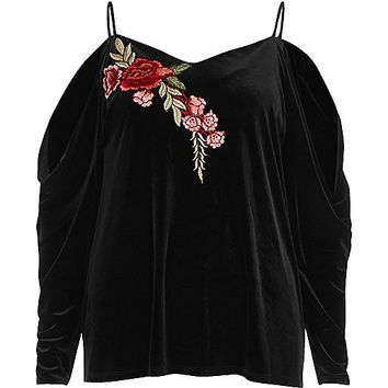 Black velvet embroidered cold shoulder top