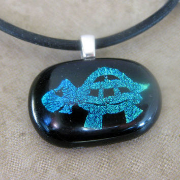 Turtle Pendant, Tortoise Necklace, Dichroic Turtle, Hand Etched Necklace, Turtle Jewelry, Tortoise Jewelry - Turtle Racer - 3524 -2