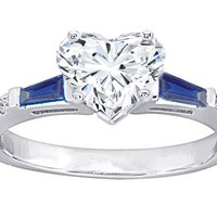 Engagement Ring - Heart Diamond Engagement Ring Blue Sapphire and Diamonds Accents 0.64 tcw. In 14K White Gold - ES131BSHSWG