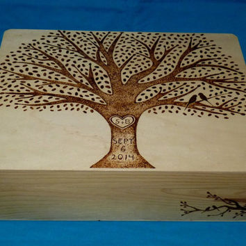 Bridal Gift Set, 1 Wood Burned Wedding Keepsake Box- 1 Wooden Wedding Recipe Card Box Rustic Wedding Tree Personalized Owl Love Birds Gift