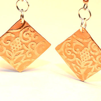 Ornate Art Nouveau Copper Dangle Earrings with Flowing Flowering Botanical Design