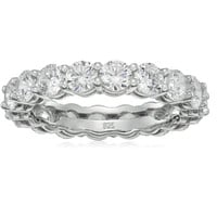 5.13 cttw Platinum-Plated Sterling Silver Cubic Zirconia All-Around Eternity Band