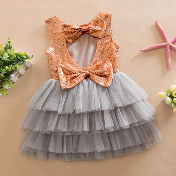 Kids Girls Clothes Baby Dresses Princess Sequined Bow Party Pageant Wedding Tulle Tutu Cake Evening Dress For Girl 1-6Years SM6