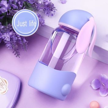 Rabbit Glass Cup Water Bottle