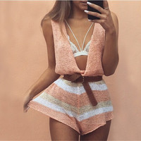 Light Peach Knit Flow Romper