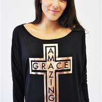 Christian T-Shirts by JCLU Forever Cross Amazing Grace Black Beautiful Long Sleeve