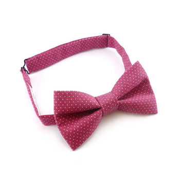 Mens bow tie pink and white pin dots vintage cotton fabric - dusty rose polka dot womens bowtie - pre tied adjustable strap bow tie