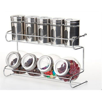 9 Canister Metal & Glass Spice Shakers Glass Jars 2 Tier Wire Rack Display   Silver