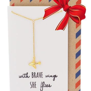 Corrine Brave Lariat Necklace with Airplane Pendant for Women, Gift for Friends, comes with Inspirational Quote, Gold-tone