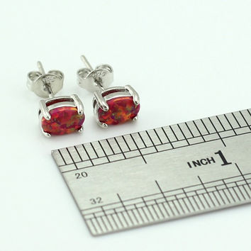 Red Opal Oval Stud Earrings