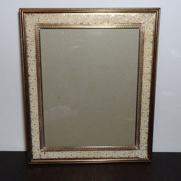 Vintage Ornate 8 x 10 Whitewashed Gold Tone Metal Filigree Picture Frame - Chevron and Floral Design - Hollywood Regency/Shabby Chic