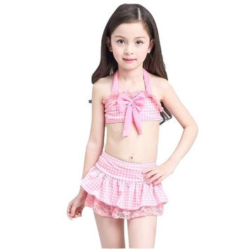 2018 Plaid Girl Halter Bikini Set Swimwear Children Cute Skirt Swimsuit Swim Bathing Suit Bather Tanga Teen kid Baby Beach Wear