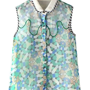 Character Print Beaded Mesh Embroidered Sleeveless Top
