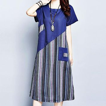 Summer new plus-size cotton and linen striped patchwork long linen short sleeve dress Navy blue Only 1 piece