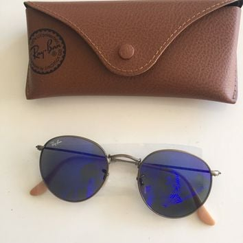 RayBan Sunglasses, Mirrored Metal Round Frame, Bronze Copper, 167/68