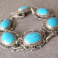 Turquoise Bracelet Sterling Silver Mexico GAOI Vintage RC0212