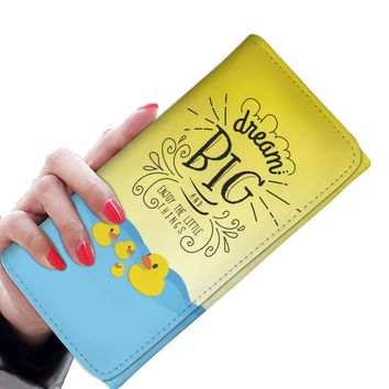 'Dream Big and Enjoy the Little Things' (Ducks) Women's Clutch Purse Wallet