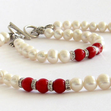 Party jewelry set of two necklace and bracelet red coral pearl jewelry wedding set freshwater pearl