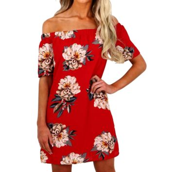 Design Short-Sleeved Printed Dress