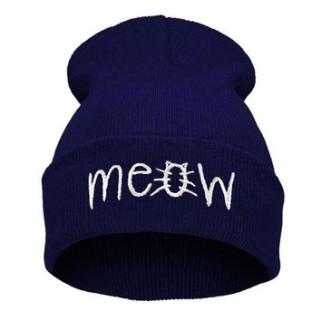 Winter Knitting MEOW Beanie Hat And Snapback Men And Women Hiphop Cap