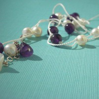 Amethyst and Pearl Hand Knotted Lariat by StarBurstJewels on Etsy