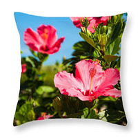 Hibiscus Pillow. Hibiscus Seat Cushion. Pink Outdoor Cushion. Floral Pillow Cover. Blooming Flowers Pillow. Photo Art Botanical Home Decor.