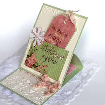 Grandma Mother's Day Card Greeting card for Grandmother, Paper handmade greeting card, Best Grandma card gift card holder