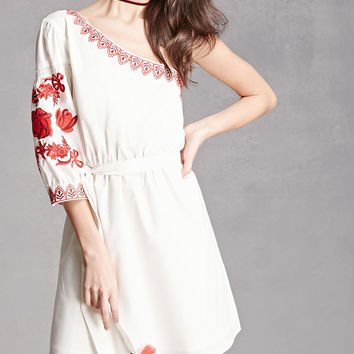 One-Shoulder Embroidered Dress