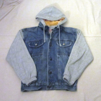 Vintage Amazing 80s DENIM JEAN HOODIE Women Small Rare Hip Rad Stylish Cotton Rayon Polyester Sweatshirt Jacket