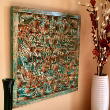 Rustic Antique Wall Panel of Reclaimed Wood Hand Carved Handmade - Pacific Ocean