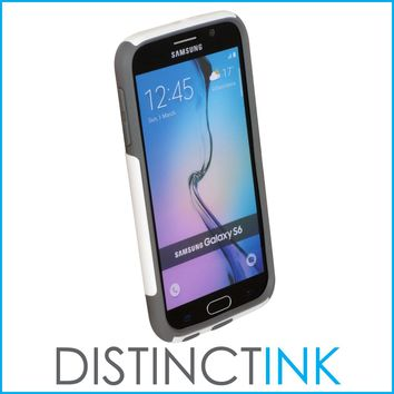 DistinctInk™ Custom White OtterBox Commuter Series Case for Samsung Galaxy S6 - Marijuana Leaf Drawing