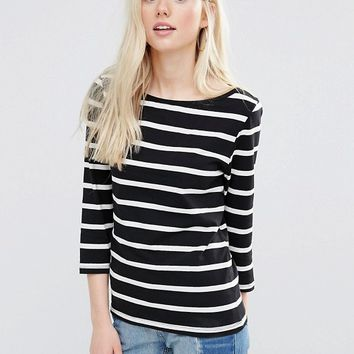 Vila 3/4 Sleeve Striped Top in Black and White at asos.com