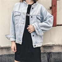 Women Casual Washed Distressed Loose Upright Neck Pocket Long Sleeve Cardigan Denim Jacket Coat