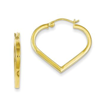 Sterling Silver Gold Plated Square Tube Heart Hoop Earrings