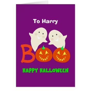 Happy Halloween Ghosts Jack O'lantern Pumpkins BOO Card