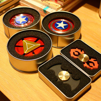 Avengers Captain American Batman Ironman Fidget Hand Spinner Spinning Top with R608 Bearing Classic Toys