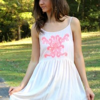 Blu Pepper Nude Lace Trim Cotton Dress with Coral Embroidered Design