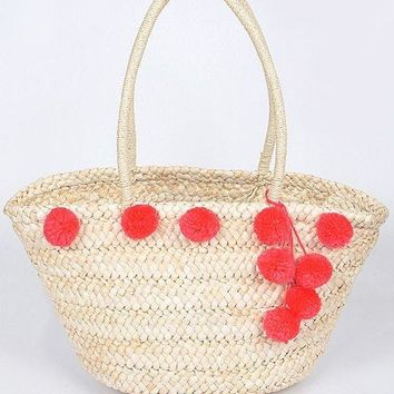 Cute Puff Balls Straw Bag