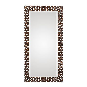 Kaveri Large Scale Distressed Dark Bronze Wall Mirror by Uttermost