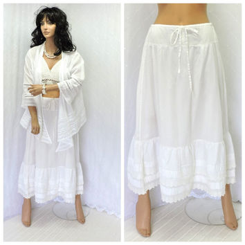 Vintage white cotton petticoat skirt  S white lace boho beach maxi skirt long tiered white gypsy skirt SunnyBohoVintage