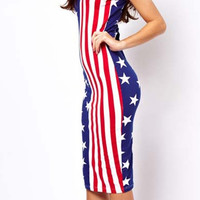 Blue and Red American Flag Print Bodycon Sleeveless Mid Dress