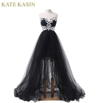 Elegant Strapless Appliques Corset Front Short Black High Low Lace Long Prom Dresses Party Evening Dress Designer