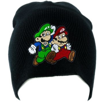 Mario and Luigi Running Beanie Knit Cap Alternative Clothing Super Mario Bros.