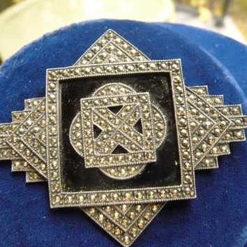 Victorian Sterling, Marcasite Onyx Pin / STUNNING and Gorgeous Mourning Brooch