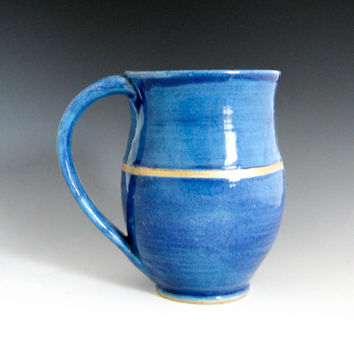 Blue & Gold Stoneware Mug - Handmade Coffee Mug