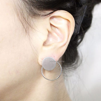 Circles, Bubble Front and Back earrings,Circle Front and Back earrings in 2 colors, E0848S