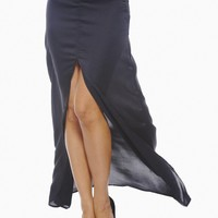 Black Fitted Satin Maxi Skirt with Front Split
