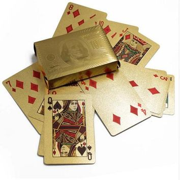 Durable 24K Gold Foil Waterproof Poker Playing Cards Set